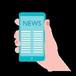 """En hand som håller upp en mobil. Skärmen visar texten """"news"""" på engelska"""