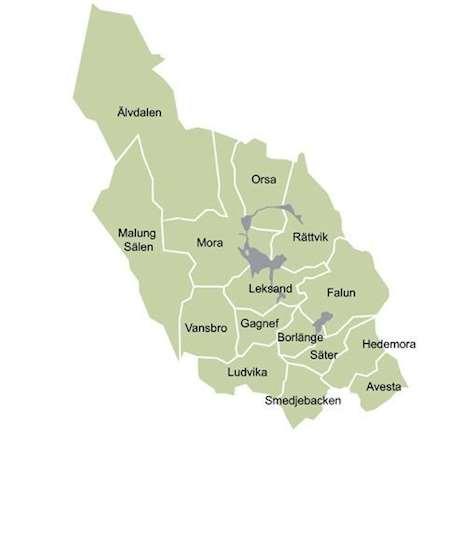 Karta över Dalarnas kommuner.