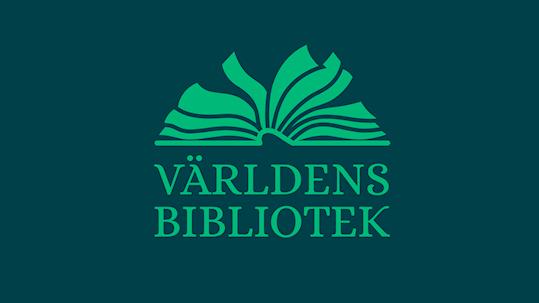 Grön bild med texten Världens bibliotek.