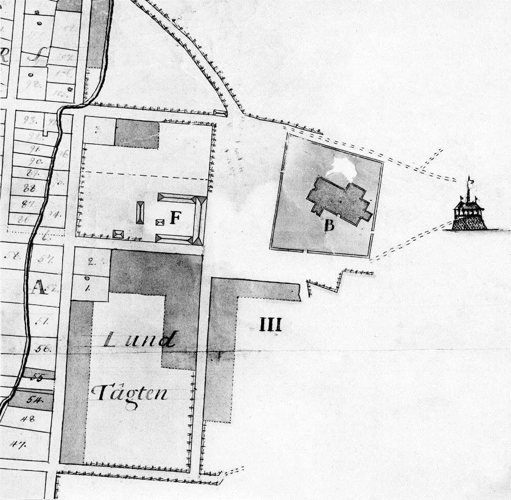 Kvarteren nedanför Kopparbergs kyrka 1761. (Utsnitt ur karta av Nils Kiellström)