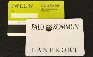 De gröna och vita bibliotekskorten från Falu kommun
