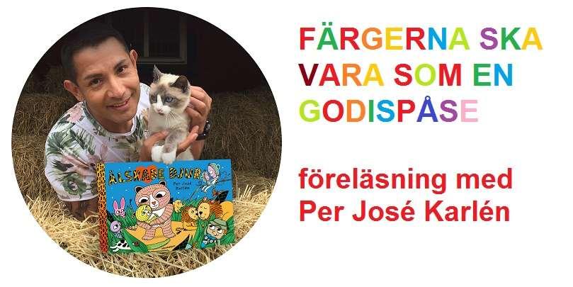 Bild på illustratören Per José Karlén med kattunge och bilderbok