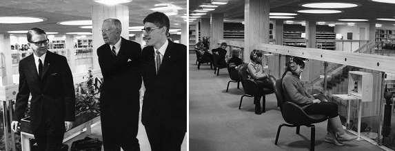 Gustav den VI inviger stadsbiblioteket, besökare lyssnar på LP-skivor.