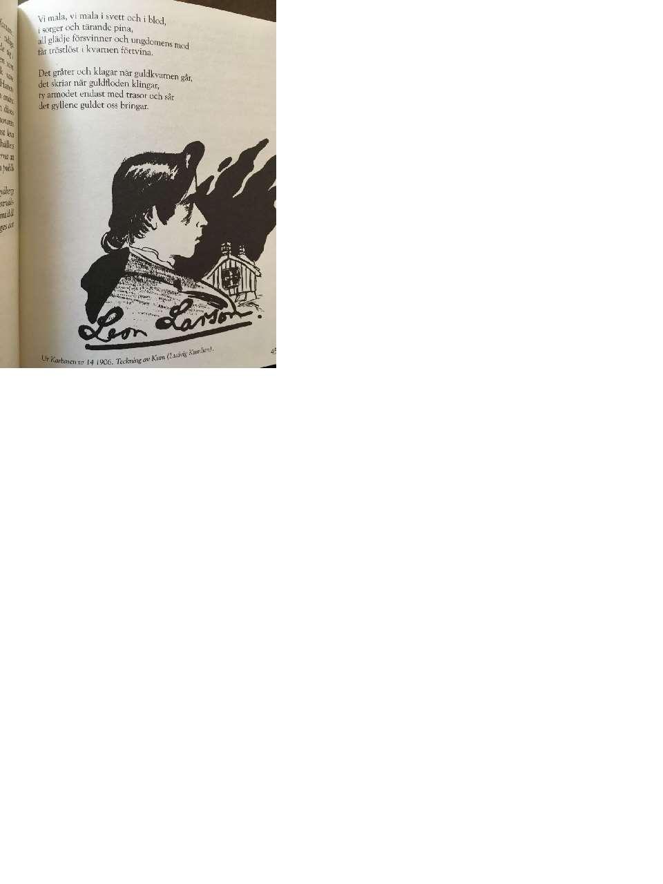 Utdrag ur diktbok med dikt och porträtt av Leon Larsson.