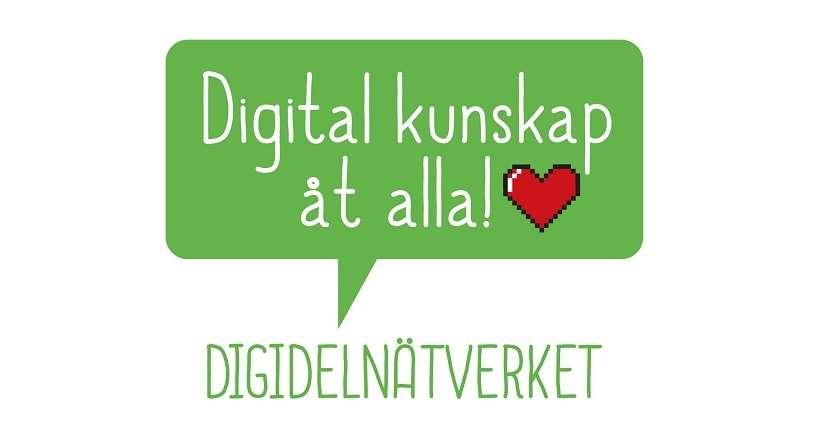 Grön pratbubbla med texten: Digital kunskap åt alla! Från Digidelnätverket