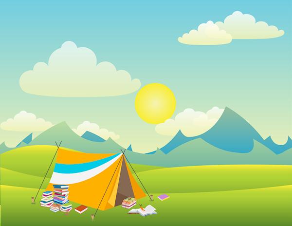 Bild på ett soligt bergslandskap. I förgrunden står ett tält. Utanför tältet ligger det högar av böcker.