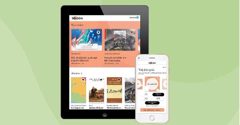 """Skärmdumpar av appen """"Bläddra"""" på surfplatta och mobil mot ljusgrön bakgrund"""